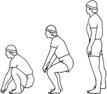 Упражнение сидеть на корточках
